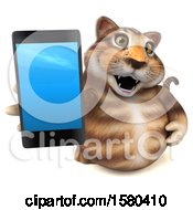 Clipart Of A 3d Tabby Kitty Cat Holding A Smart Phone On A White Background Royalty Free Illustration by Julos