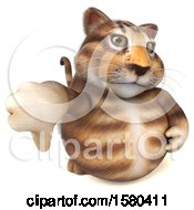 Clipart Of A 3d Tabby Kitty Cat Holding A Thumb Down On A White Background Royalty Free Illustration by Julos