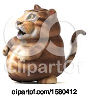 Clipart Of A 3d Tabby Kitty Cat Walking On A White Background Royalty Free Illustration by Julos