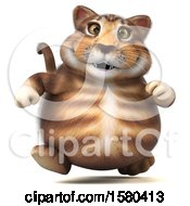 Clipart Of A 3d Tabby Kitty Cat Running On A White Background Royalty Free Illustration by Julos