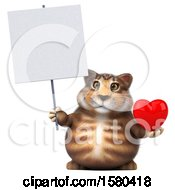 3d Tabby Kitty Cat Holding A Heart On A White Background