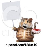 3d Tabby Kitty Cat Holding A Steak On A White Background