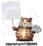 3d Tabby Kitty Cat Holding A Cloud On A White Background