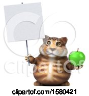 Clipart Of A 3d Tabby Kitty Cat Holding An Apple On A White Background Royalty Free Illustration by Julos