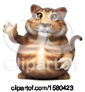 Clipart Of A 3d Tabby Kitty Cat Waving On A White Background Royalty Free Illustration by Julos