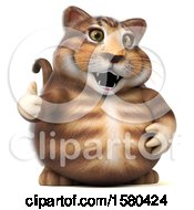 Clipart Of A 3d Tabby Kitty Cat Giving A Thumb Up On A White Background Royalty Free Illustration by Julos