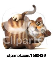 Clipart Of A 3d Tabby Kitty Cat Resting On A White Background Royalty Free Illustration by Julos