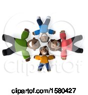 Poster, Art Print Of 3d Happy Black Family Laying In A Circle On A White Background