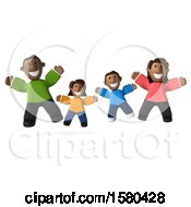 Clipart Of A 3d Happy Black Family Jumping On A White Background Royalty Free Illustration