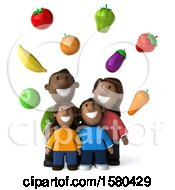 3d Happy Black Family With Healthy Produce On A White Background