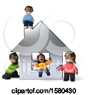 Poster, Art Print Of 3d Happy Black Family And Their Home On A White Background