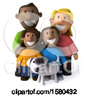 Poster, Art Print Of 3d Happy Black Family And Dog On A White Background