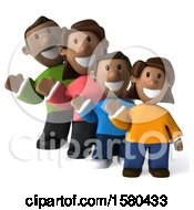 Clipart Of A 3d Happy Black Family Waving On A White Background Royalty Free Illustration