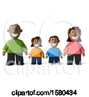 Clipart Of A 3d Happy Black Family On A White Background Royalty Free Illustration