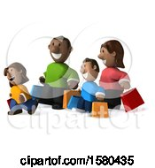 Clipart Of A 3d Happy Black Family Shopping On A White Background Royalty Free Illustration