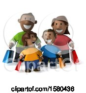 Poster, Art Print Of 3d Happy Black Family Shopping On A White Background