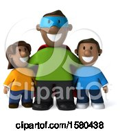 Clipart Of A 3d Black Super Dad And Kids On A White Background Royalty Free Illustration