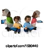 Poster, Art Print Of 3d Happy Black Family With Tablets On A White Background