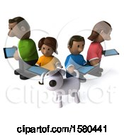 3d Happy Black Family And Dog With Tablets On A White Background