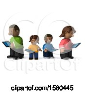 Clipart Of A 3d Happy Black Family With Tablets On A White Background Royalty Free Illustration