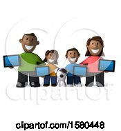 Poster, Art Print Of 3d Happy Black Family And Dog With Tablets On A White Background
