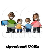Poster, Art Print Of 3d Happy Black Family And Dog With A Tablet On A White Background