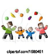 Clipart Of A 3d Happy Black Family With Healthy Produce On A White Background Royalty Free Illustration