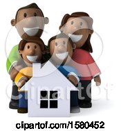 Clipart Of A 3d Happy Black Family And Their Home On A White Background Royalty Free Illustration by Julos