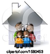 Clipart Of A 3d Happy Black Family And Their Home On A White Background Royalty Free Illustration