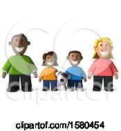 3d Happy Black Family And Dog On A White Background