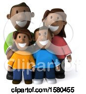 Clipart Of A 3d Happy Black Family On A White Background Royalty Free Illustration by Julos