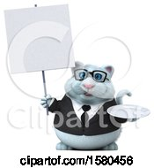 3d White Business Kitty Cat Holding A Plate On A White Background