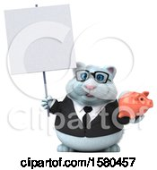 3d White Business Kitty Cat Holding A Piggy Bank On A White Background
