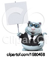 3d White Business Kitty Cat Holding A Blank Sign On A White Background