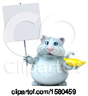 3d White Kitty Cat Holding A Banana On A White Background