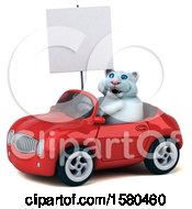 3d White Kitty Cat Driving A Convertible On A White Background