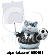 3d White Business Kitty Cat Holding A Soccer Ball On A White Background