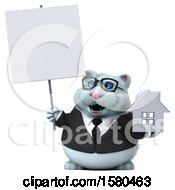 3d White Business Kitty Cat Holding A House On A White Background