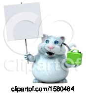 3d White Kitty Cat Holding A Gas Can On A White Background