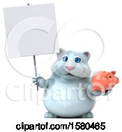Poster, Art Print Of 3d White Kitty Cat Holding A Piggy Bank On A White Background