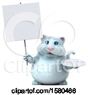 3d White Kitty Cat Holding A Plate On A White Background