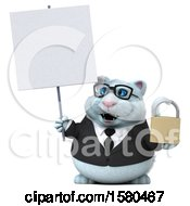 3d White Business Kitty Cat Holding A Padlock On A White Background