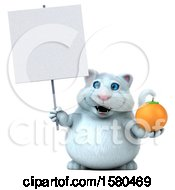 3d White Kitty Cat Holding An Orange On A White Background