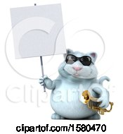 Poster, Art Print Of 3d White Kitty Cat Holding A Trumpet On A White Background