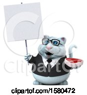 3d White Business Kitty Cat Holding A Steak On A White Background