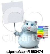 3d White Kitty Cat Holding Books On A White Background