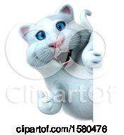 Clipart Of A 3d White Kitty Cat Holding A Thumb Up On A White Background Royalty Free Illustration