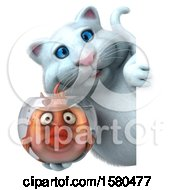 Clipart Of A 3d White Kitty Cat Holding A Fish In A Bowl On A White Background Royalty Free Illustration