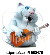 Clipart Of A 3d White Kitty Cat Playing A Guitar On A White Background Royalty Free Illustration