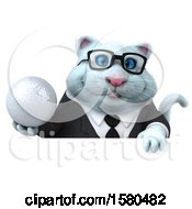 3d White Business Kitty Cat Holding A Golf Ball On A White Background